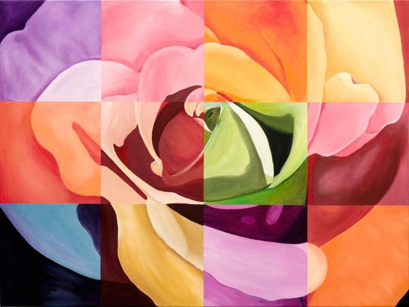 Multi-color rose Large Art Print