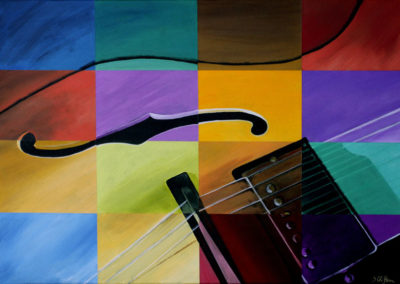 Giclee print multi color guitar