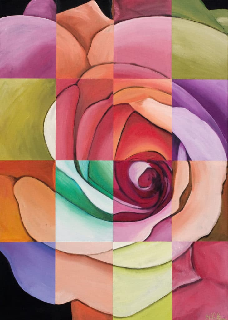 Multi-color rose Large Art Print