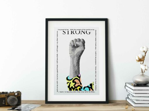 paper art print of strong
