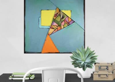 Teal Color Block Artwork 18x18