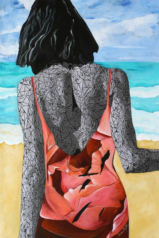 Calm Walk on the Beach - Original Artwork by Susan Clifton - 24x36 inches