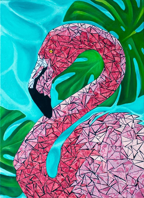 Flamingo Painting - Art in Hand, the USA project