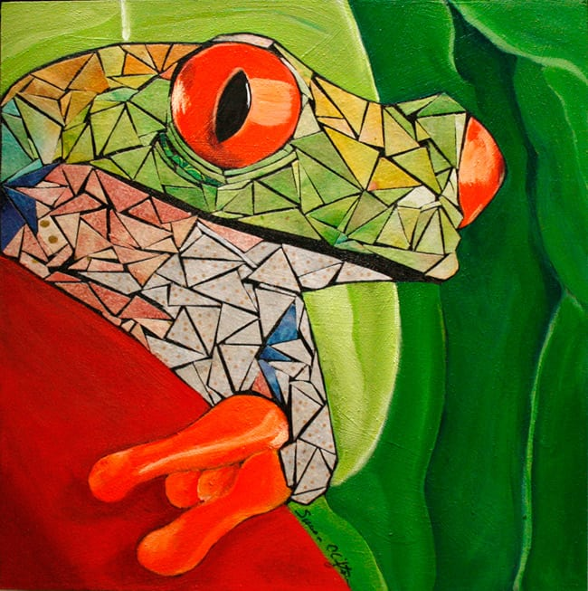 Acrylic Tree Frog Painting: artist Susan Clifton