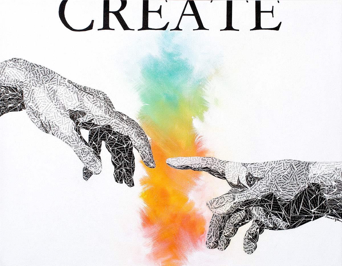 creation of adam by artist Susan Clifton